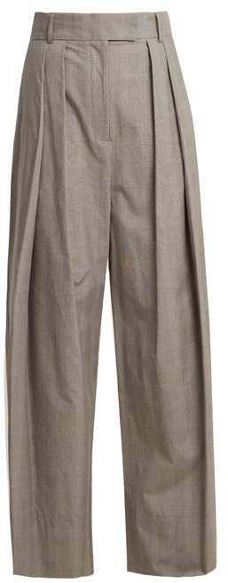 Awake Glen Plaid Checked Wide Leg Trousers - Womens - Grey
