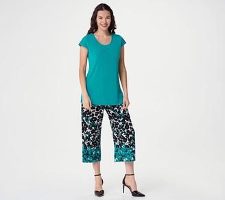 Susan Graver Petite Liquid Knit Top and Printed Capri Pants Set