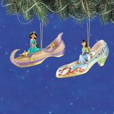 Disney The Bradford Exchange Once Upon a Slipper Ornament Set #4 Jasmine and Mulan