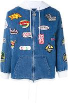 Gcds - patch embellished denim hoodie - unisex - Cotton - XS