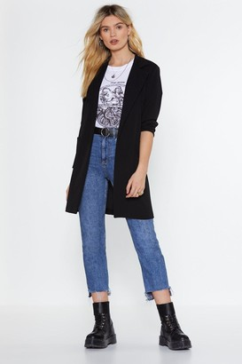 Nasty Gal Womens Long Blazer with Notch Lapels and Pockets at Sides - Black