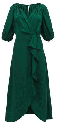 Saloni Olivia Wrap-front Silk-blend Jacquard Midi Dress - Womens - Dark Green