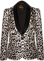 Roberto Cavalli Sequin-trimmed Leopard-jacquard Blazer - Leopard print