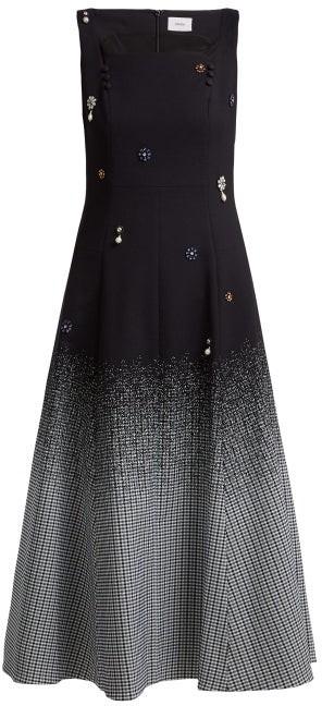 Erdem Polly Crystal Embellished Cotton Blend Dress - Womens - Black Multi