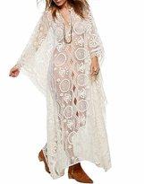 Vivilover Womens Lace Beach Dress Swimsuit Coverup Maxi Long Tank Dress