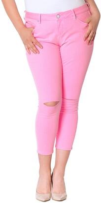 SLINK Jeans Women's Plus Size Neon Pink Ankle 20W