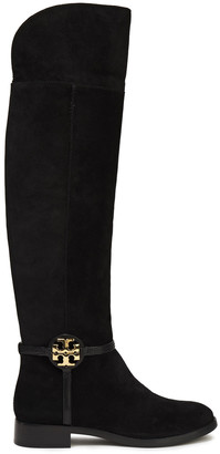 Tory Burch Miller Embellished Leather-trimmed Suede Knee Boots
