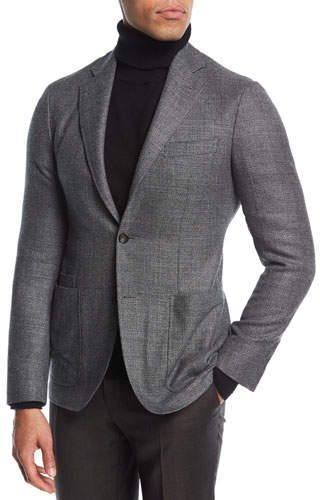 Canali Melange Wool Two-Button Blazer