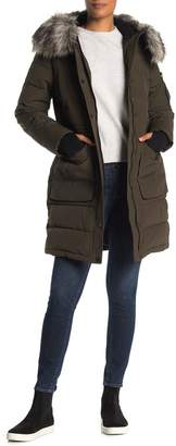 BCBGeneration Faux Fur Trim Hooded Quilted Jacket
