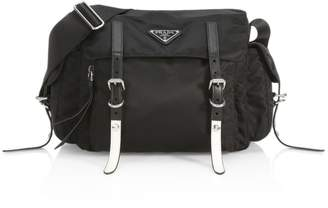Prada Nylon Messenger Bag With Studding