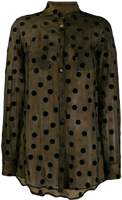 Romeo Gigli Pre Owned 1990's Sheer Polka Dots Shirt