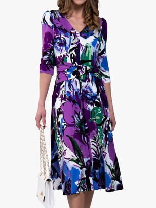 Jolie Moi Twist Dress, Purple Floral