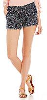 Jolt Ditsy Floral-Print Frayed-Hem Drawstring Linen-Blend Soft Shorts