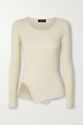 Theory Asymmetric Ribbed Wool-blend Sweater - Ecru