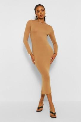 boohoo Basic Long Sleeve Crew Neck Maxi Dress