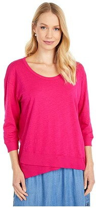 Mod-o-doc Slub Jersey 3/4 Sleeve Tee with Crossover Rib Hem (Magenta) Women's Clothing
