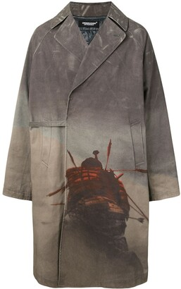 Undercover Graphic Print Oversized Trench Coat