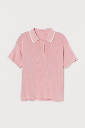 H&M Fine-knit Polo Shirt - Pink