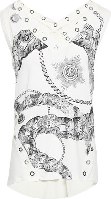 Just Cavalli Embellished Printed Stretch-jersey Top