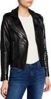 Nour Hammour Vinyl Lace-Up Leather Moto Jacket