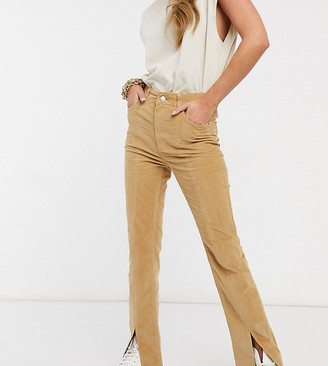 ASOS DESIGN high rise sassy cigarette jeans with split front in camel cord