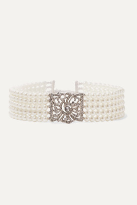 Kenneth Jay Lane Silver-tone, Faux Pearl And Crystal Choker - one size