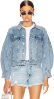 A Gold E Agolde AGOLDE Alik Balloon Sleeve Denim Jacket in Hypnosis | FWRD