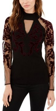 INC International Concepts Inc Petite Flocked Mesh-Sleeve Sweater, Created for Macy's