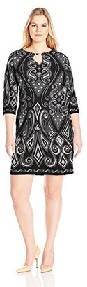 Tiana B T I A N A B. Women's Plus Size 3/4 Sleeve Printed Knit Dress with Keyhole