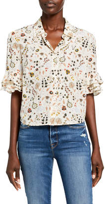 Frame Ruffle-Sleeve Printed Button-Down Top