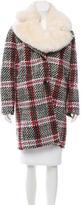 Carven Wool-Blend Faux Fur-Trimmed Coat