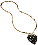 Betsey Johnson Hearts And Arrows Studded Resin Heart Necklace
