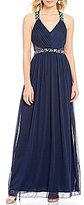 Jodi Kristopher Beaded Trim V-Neck Illusion-Inset Long Dress