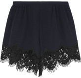 Chloé Lace-trimmed Silk Crepe De Chine Shorts - Midnight blue