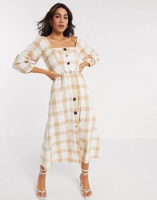 ASOS DESIGN premium casual button through midi skater dress in check