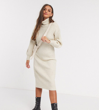 ASOS DESIGN Petite midi rib dress with cowl neck
