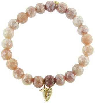 Sydney Evan Conch Shell Charm on Mystic Peach Moonstone Beaded Yellow Gold Bracelet