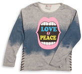 Flowers by Zoe Girls 7-16 Love and Peace Side Tie Tee