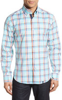 Stone Rose Trim Fit Long Sleeve Oxford Plaid Sport Shirt