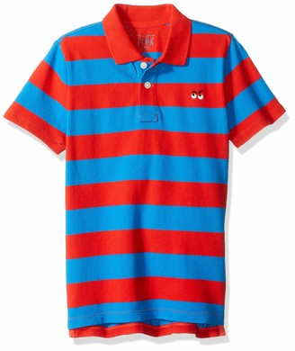 LOOK by crewcuts Boys' Short Sleeve Polo Rugby Stripe/Navy Medium (8) US