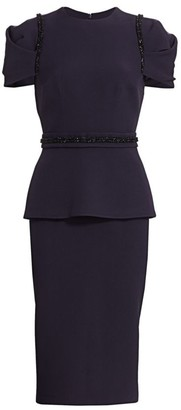 Safiyaa Heavy Crepe Peplum Sheath Dress