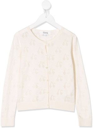 Bonpoint Cherry Embroidered Fitted Cardigan