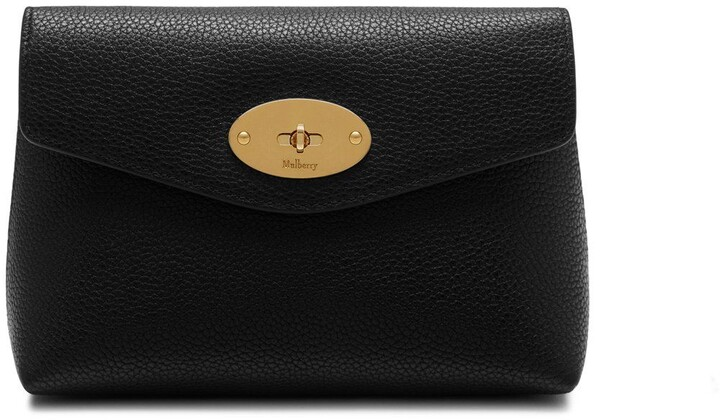 Mulberry Darley Cosmetic Pouch Black Small Classic Grain