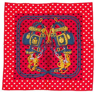 One Kings Lane Vintage Hermes Red Brides de Gala Pochette Scarf - Vintage Lux - Red/white/black