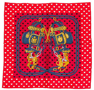 One Kings Lane Vintage Hermes Red Brides de Gala Pochette Scarf - Vintage Lux