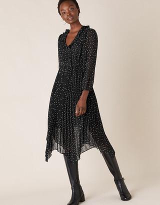 Monsoon Spot Print Pleated Hanky Hem Dress Black