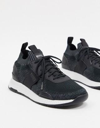 BOSS Titanium odour repellent runner trainers in black