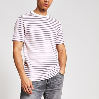 River Island Maison Riviera white stripe slim fit T-shirt