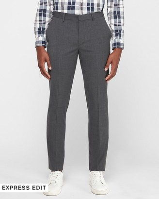 Express Extra Slim Charcoal Wool-Blend Performance Suit Pant