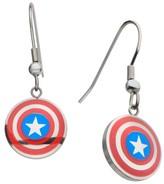 Marvel Women's Captain America Shield Logo Stainless Steel Hook Dangle Earrings